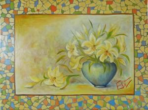 Lilies in a blue vase   №467