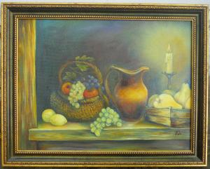 Still life with candle and fruits   №547