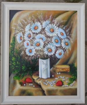 Daisies in a white vase   №711