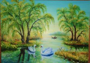 Пейзаж с лебеди и лодка. № 717